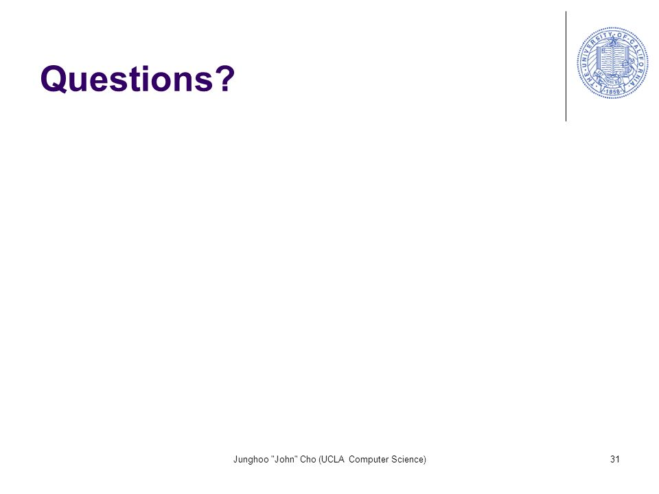 Junghoo John Cho (UCLA Computer Science)31 Questions