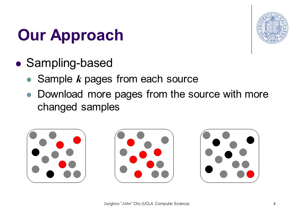 Junghoo John Cho (UCLA Computer Science)4 Our Approach Sampling-based Sample k pages from each source Download more pages from the source with more changed samples