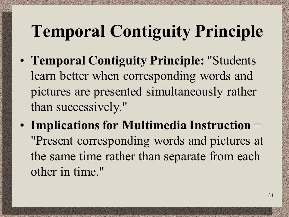 31 Temporal Contiguity Principle Temporal Contiguity Principle: Students learn better when corresponding words and pictures are presented simultaneously rather than successively. Implications for Multimedia Instruction = Present corresponding words and pictures at the same time rather than separate from each other in time.