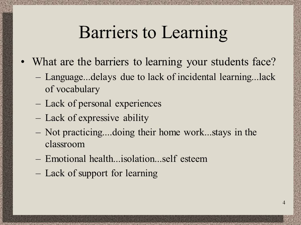 4 Barriers to Learning What are the barriers to learning your students face.