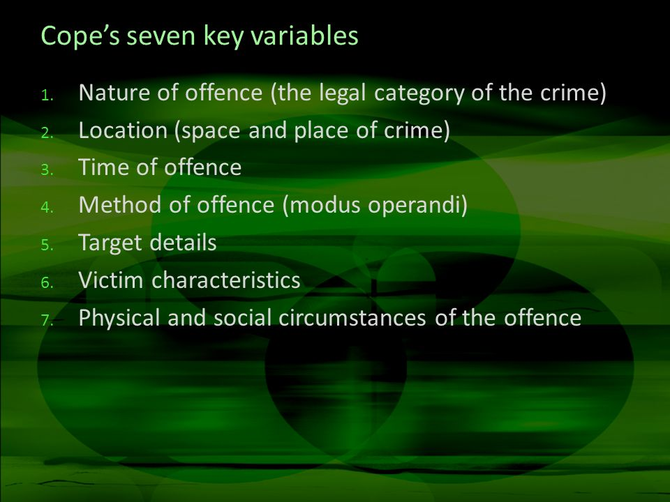 ViCAP Violent Criminal Apprehension Program After ten years, it was found that less than 10 per cent of homicides were reported to ViCAP Original form had 189 questions