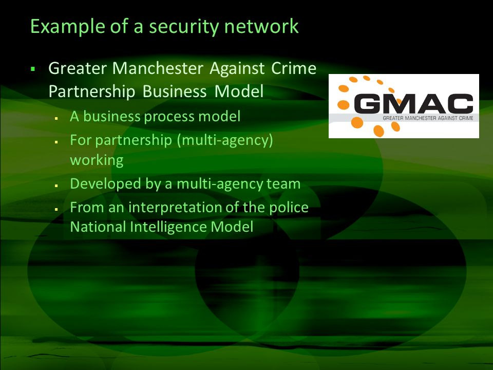 Example of a security network Greater Manchester Against Crime Partnership Business Model A business process model For partnership (multi-agency) working Developed by a multi-agency team From an interpretation of the police National Intelligence Model