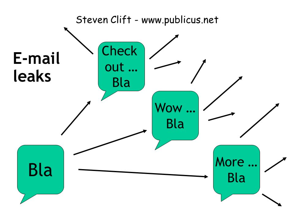 Steven Clift - www.publicus.net Bla Check out … Bla Wow … Bla More … Bla E-mail leaks