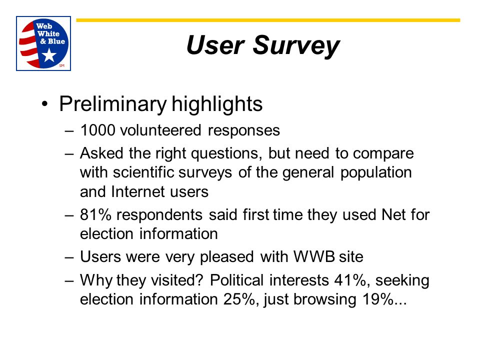 User Survey Preliminary highlights –1000 volunteered responses –Asked the right questions, but need to compare with scientific surveys of the general population and Internet users –81% respondents said first time they used Net for election information –Users were very pleased with WWB site –Why they visited.
