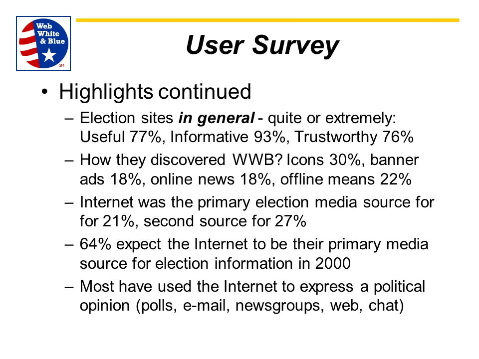 User Survey Highlights continued –Election sites in general - quite or extremely: Useful 77%, Informative 93%, Trustworthy 76% –How they discovered WWB.