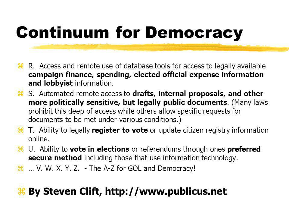 Continuum for Democracy zR.