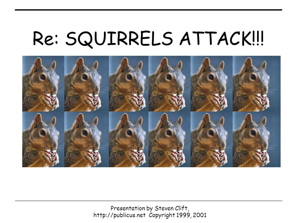 Presentation by Steven Clift, http://publicus.net Copyright 1999, 2001 Re: SQUIRRELS ATTACK!!!