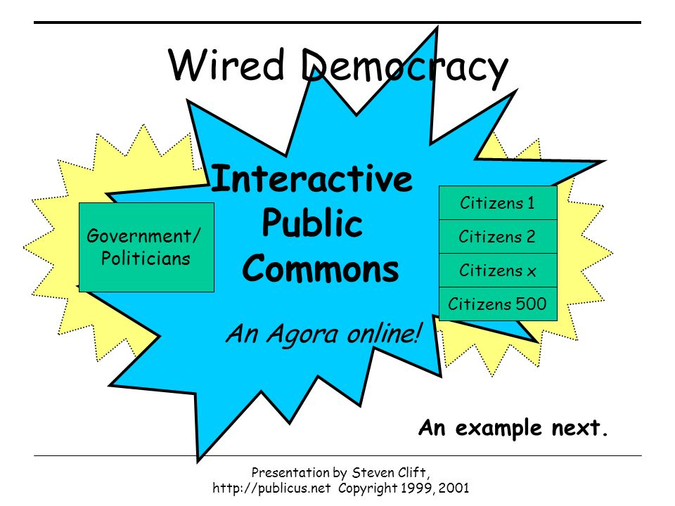 Presentation by Steven Clift, http://publicus.net Copyright 1999, 2001 Interactive Public Commons An Agora online.