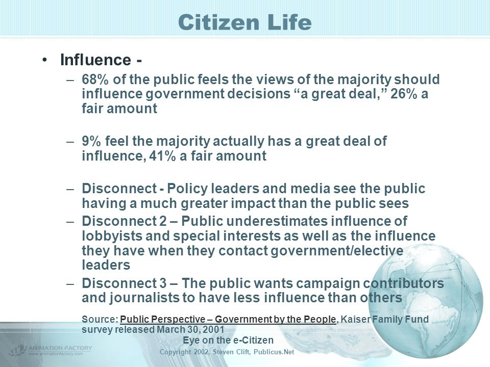 Eye on the e-Citizen Copyright 2002, Steven Clift, Publicus.Net Citizen Life Voting – Sometimes.