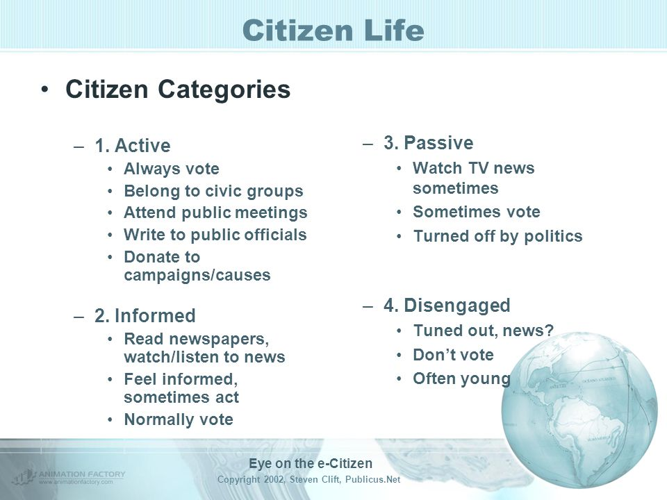 Eye on the e-Citizen Copyright 2002, Steven Clift, Publicus.Net Citizen Life Connecting - Civic things we want.