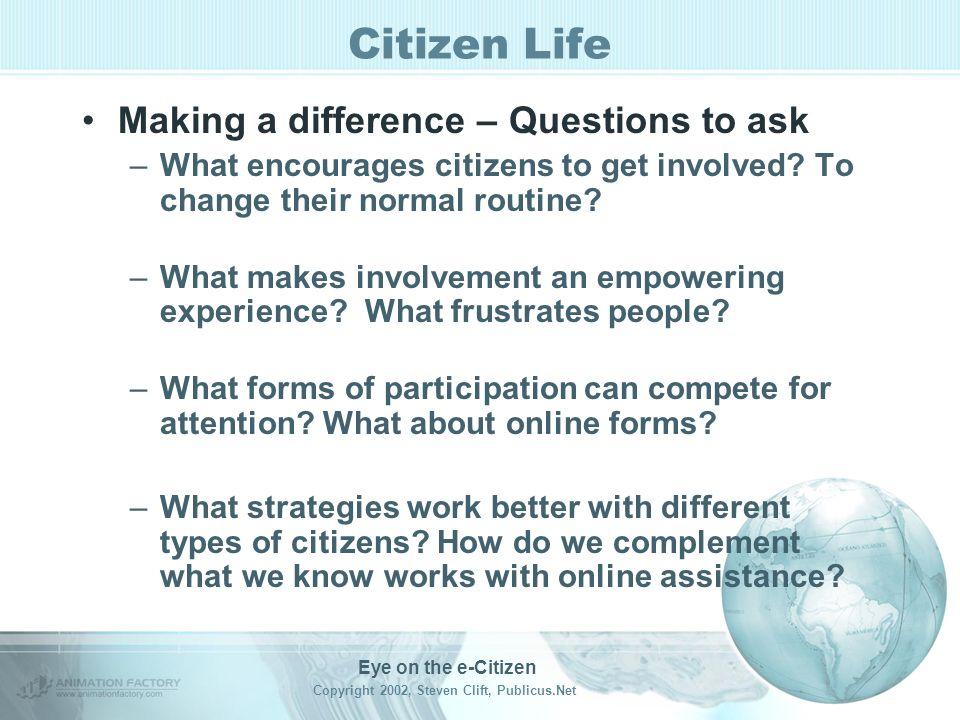Eye on the e-Citizen Copyright 2002, Steven Clift, Publicus.Net Citizen Life Citizen Categories –1. Active Always vote Belong to civic groups Attend p