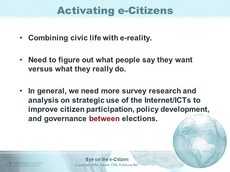 Activating e-Citizens