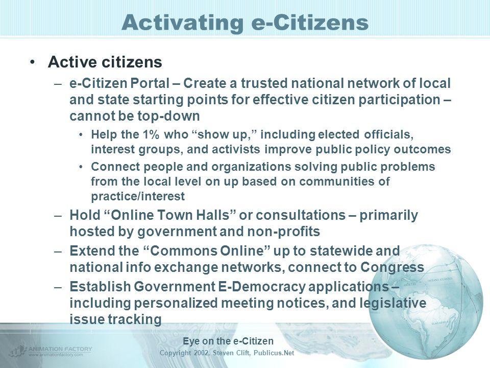 Eye on the e-Citizen Copyright 2002, Steven Clift, Publicus.Net Activating e-Citizens Informed Citizens –MyBallot.Net 2004 et al Presidential primary