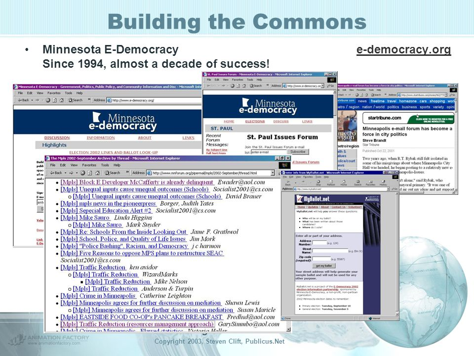 Building the Commons Copyright 2003, Steven Clift, Publicus.Net Building the Commons Minnesota E-Democracye-democracy.org Since 1994, almost a decade