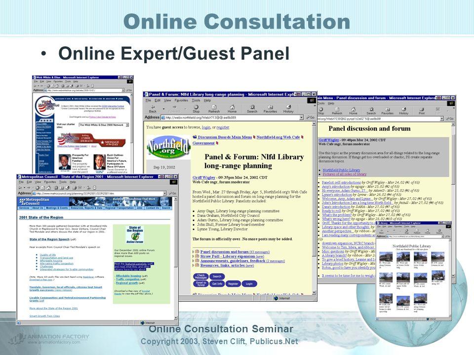 Online Consultation Seminar Copyright 2003, Steven Clift, Publicus.Net Online Consultation Online Expert/Guest Panel