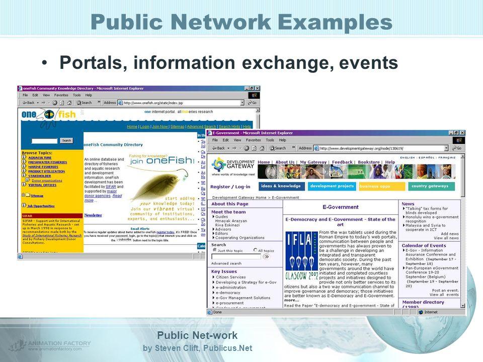 Public Net-work by Steven Clift, Publicus.Net Public Network Examples Portals, information exchange, events
