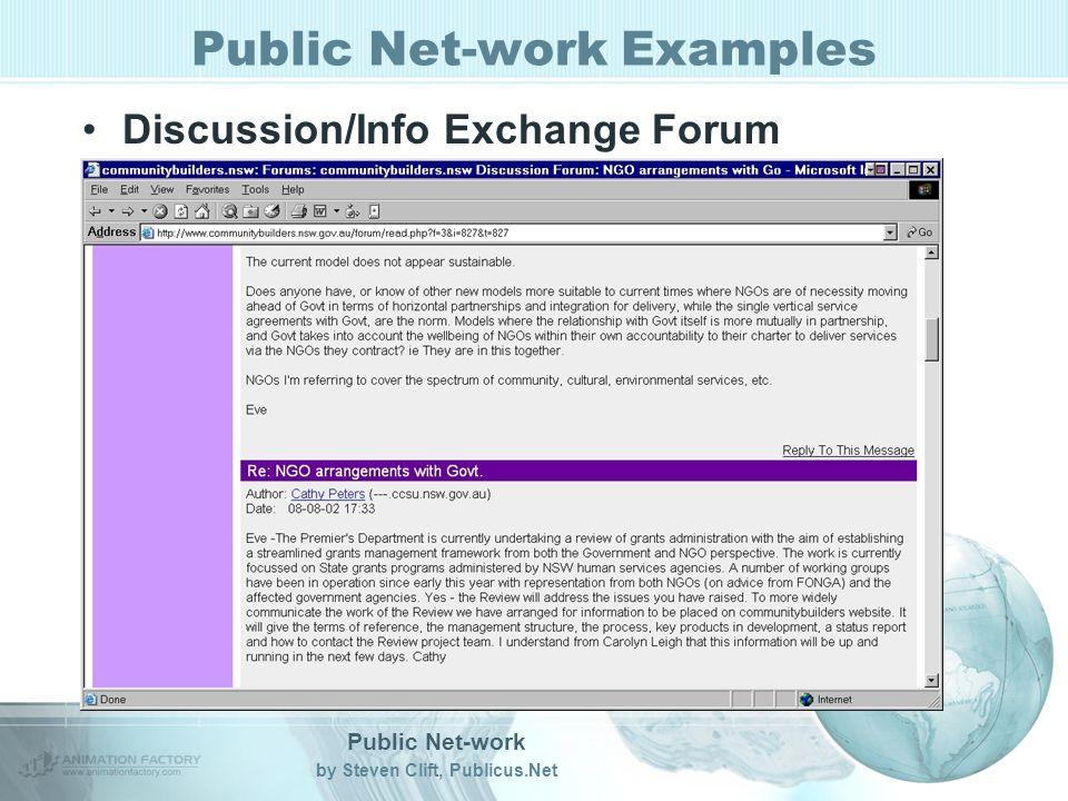Public Net-work by Steven Clift, Publicus.Net Public Net-work Examples Discussion/Info Exchange Forum