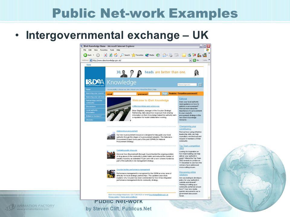 Public Net-work by Steven Clift, Publicus.Net Public Net-work Examples Intergovernmental exchange – UK