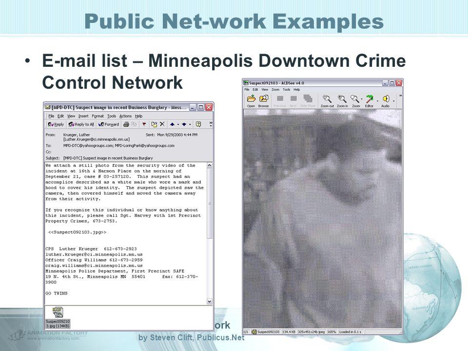 Public Net-work by Steven Clift, Publicus.Net Public Net-work Examples E-mail list – Minneapolis Downtown Crime Control Network