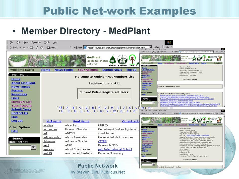 Public Net-work by Steven Clift, Publicus.Net Public Net-work Examples Member Directory - MedPlant
