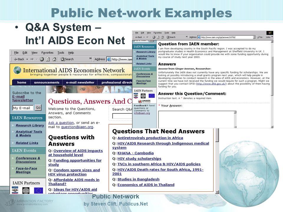 Public Net-work by Steven Clift, Publicus.Net Public Net-work Examples Q&A System – Intl AIDS Econ Net