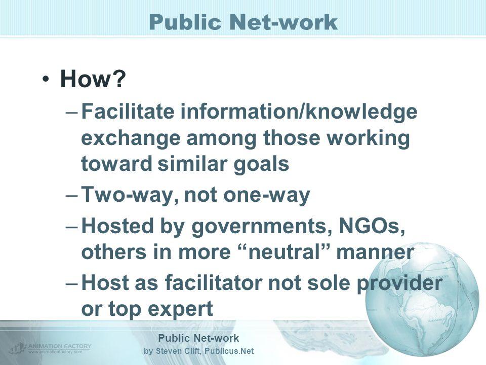 Public Net-work by Steven Clift, Publicus.Net Public Net-work How.