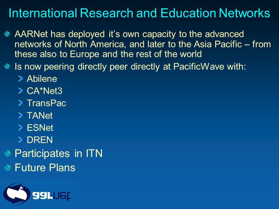 International Research and Education Networks AARNet has deployed its own capacity to the advanced networks of North America, and later to the Asia Pacific – from these also to Europe and the rest of the world Is now peering directly peer directly at PacificWave with: Abilene CA*Net3 TransPac TANet ESNet DREN Participates in ITN Future Plans