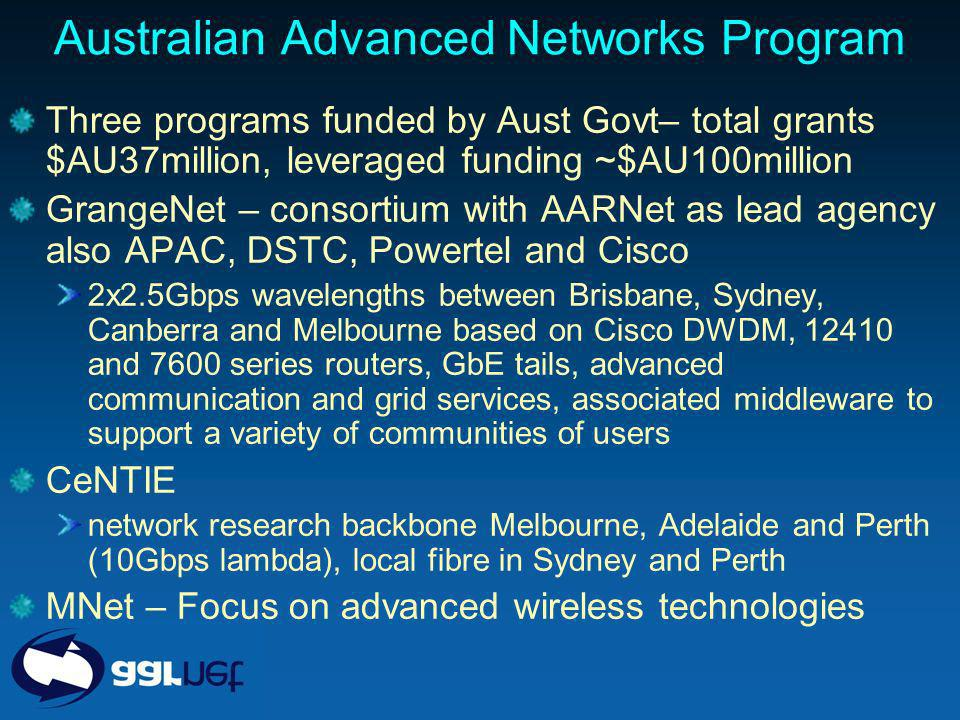 Australian Advanced Networks Program Three programs funded by Aust Govt– total grants $AU37million, leveraged funding ~$AU100million GrangeNet – consortium with AARNet as lead agency also APAC, DSTC, Powertel and Cisco 2x2.5Gbps wavelengths between Brisbane, Sydney, Canberra and Melbourne based on Cisco DWDM, 12410 and 7600 series routers, GbE tails, advanced communication and grid services, associated middleware to support a variety of communities of users CeNTIE network research backbone Melbourne, Adelaide and Perth (10Gbps lambda), local fibre in Sydney and Perth MNet – Focus on advanced wireless technologies