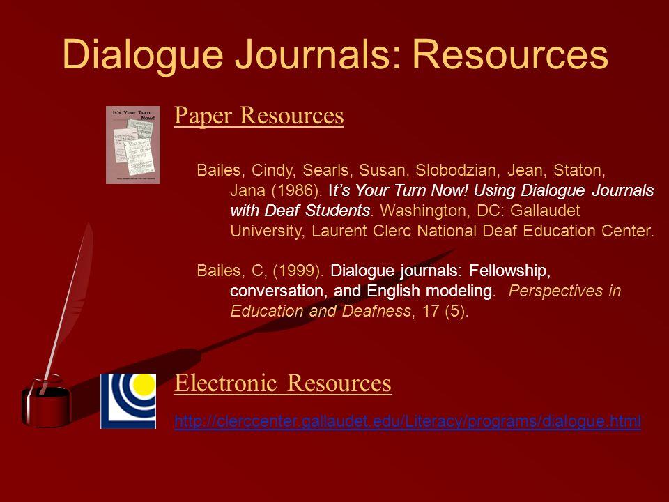 Dialogue Journals: Resources http://clerccenter.gallaudet.edu/Literacy/programs/dialogue.html Bailes, Cindy, Searls, Susan, Slobodzian, Jean, Staton,
