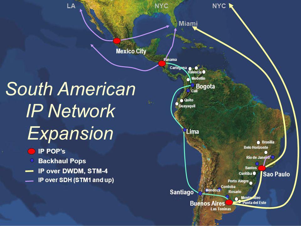 One Planet. One Network. South American IP Network Expansion Santiago Buenos Aires Las Toninas Rosario Guayaquil Quito Cali Bogota Medellin Valencia B