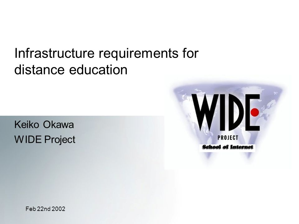 Feb 22nd 2002 Infrastructure requirements for distance education Keiko Okawa WIDE Project