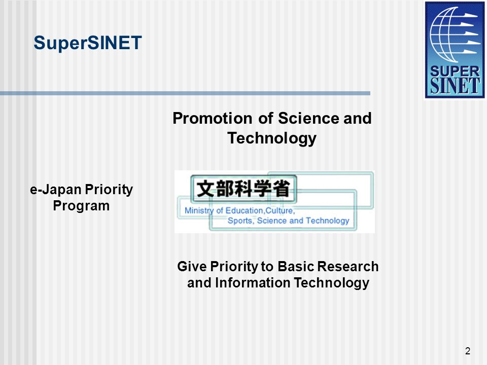 2 Promotion of Science and Technology Give Priority to Basic Research and Information Technology e-Japan Priority Program SuperSINET