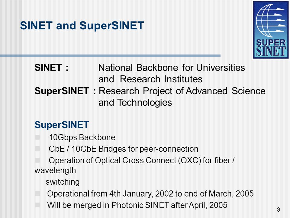 3 SINET : National Backbone for Universities and Research Institutes SuperSINET : Research Project of Advanced Science and Technologies SuperSINET 10Gbps Backbone GbE / 10GbE Bridges for peer-connection Operation of Optical Cross Connect (OXC) for fiber / wavelength switching Operational from 4th January, 2002 to end of March, 2005 Will be merged in Photonic SINET after April, 2005 SINET and SuperSINET