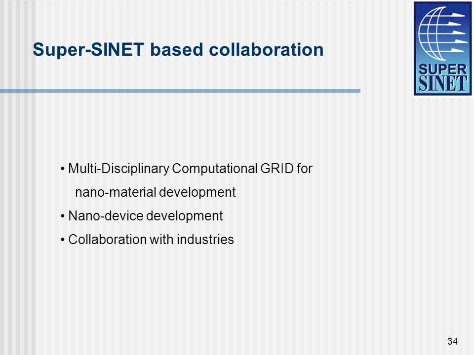 34 Super-SINET based collaboration Multi-Disciplinary Computational GRID for nano-material development Nano-device development Collaboration with indu