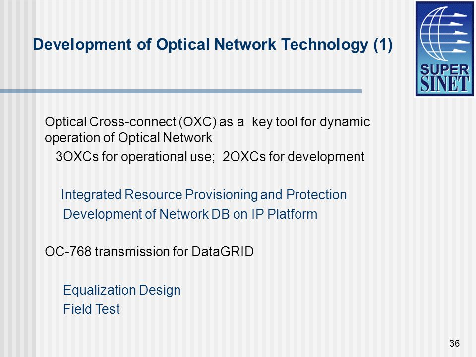 36 Optical Cross-connect (OXC) as a key tool for dynamic operation of Optical Network 3OXCs for operational use; 2OXCs for development Integrated Reso