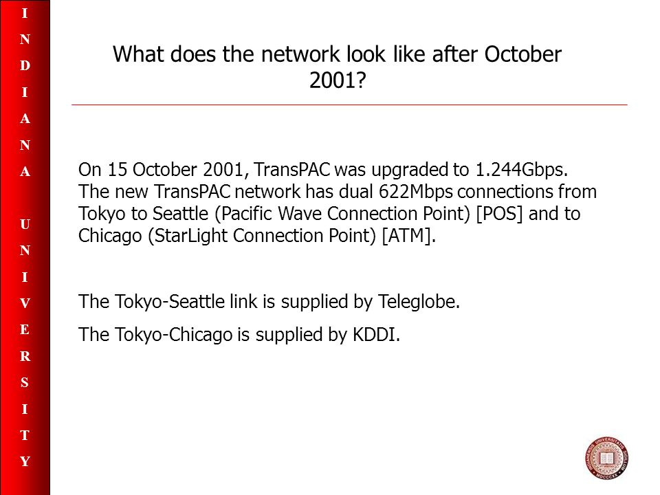 INDIANAUNIVERSITYINDIANAUNIVERSITY On 15 October 2001, TransPAC was upgraded to 1.244Gbps.