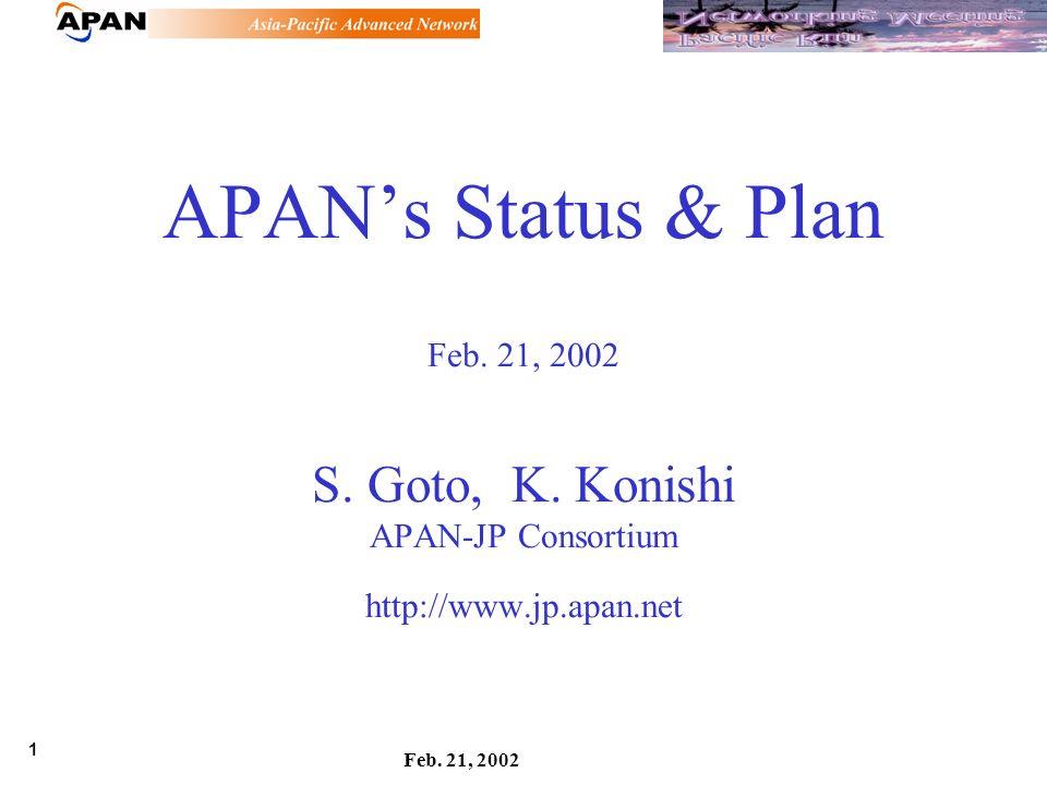 1 Feb. 21, 2002 APANs Status & Plan Feb. 21, 2002 S.