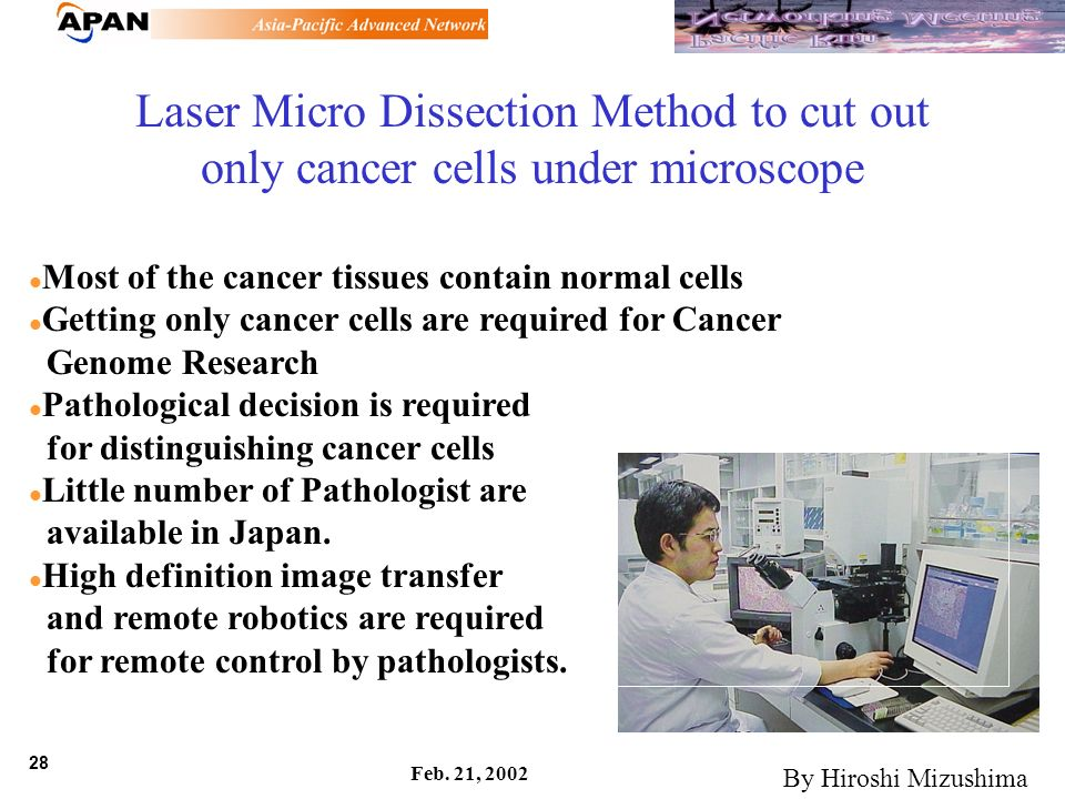 28 Feb. 21, 2002 Laser Micro Dissection Method to cut out only cancer cells under microscope Most of the cancer tissues contain normal cells Getting o