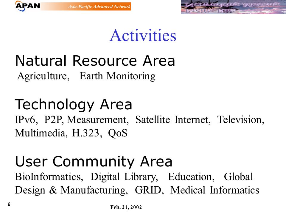 6 Feb. 21, 2002 Natural Resource Area Agriculture, Earth Monitoring Technology Area IPv6, P2P, Measurement, Satellite Internet, Television, Multimedia
