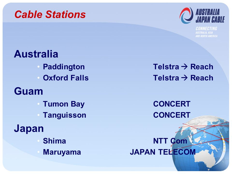 Cable Stations Australia PaddingtonTelstra Reach Oxford FallsTelstra Reach Guam Tumon BayCONCERT TanguissonCONCERT Japan ShimaNTT Com MaruyamaJAPAN TELECOM
