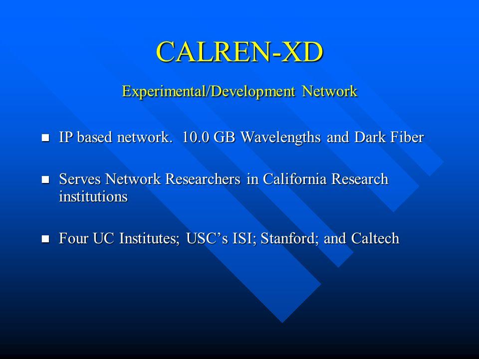 CALREN-XD Experimental/Development Network IP based network. 10.0 GB Wavelengths and Dark Fiber IP based network. 10.0 GB Wavelengths and Dark Fiber S
