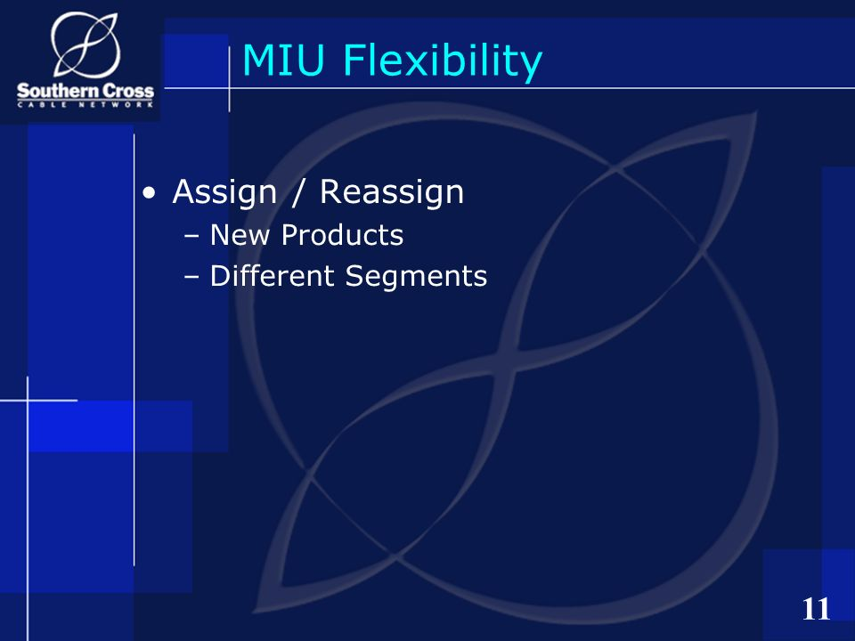 11 MIU Flexibility Assign / Reassign –New Products –Different Segments