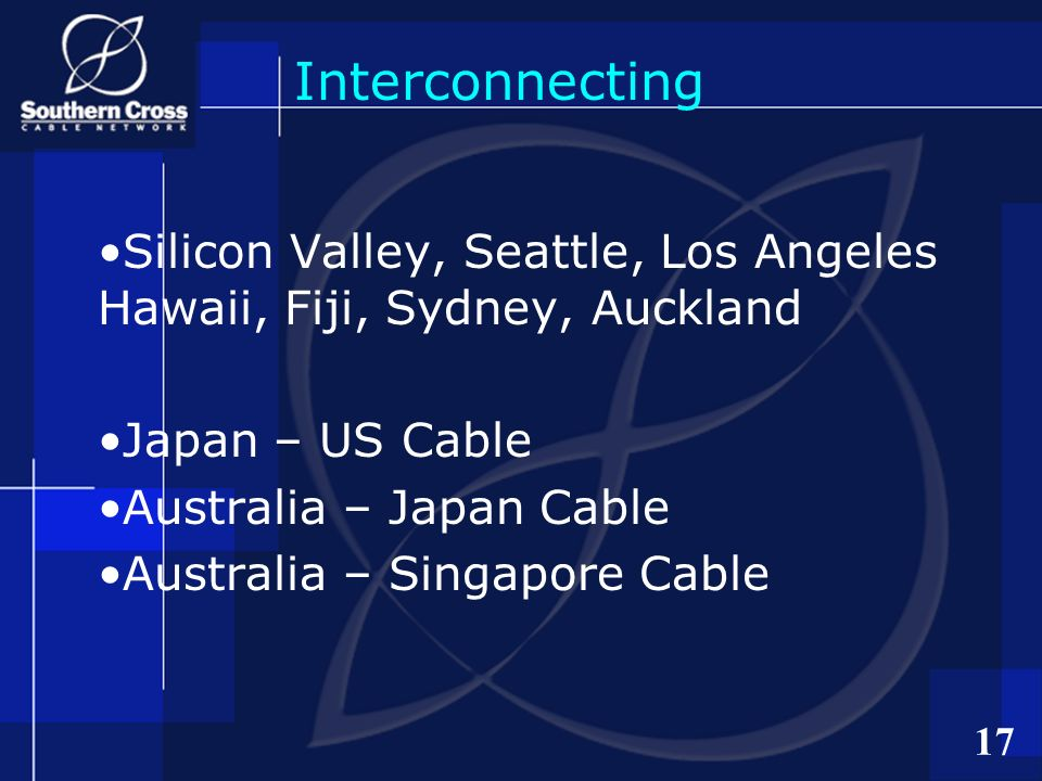 17 Interconnecting Silicon Valley, Seattle, Los Angeles Hawaii, Fiji, Sydney, Auckland Japan – US Cable Australia – Japan Cable Australia – Singapore Cable