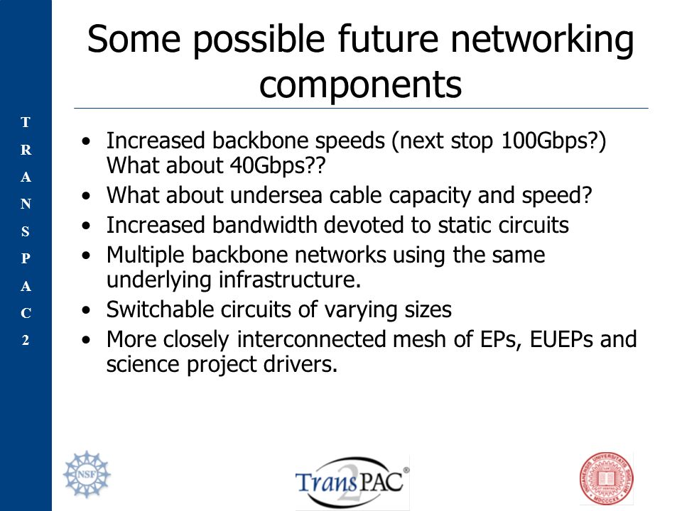 TRANSPAC2TRANSPAC2 Some possible future networking components Increased backbone speeds (next stop 100Gbps ) What about 40Gbps .