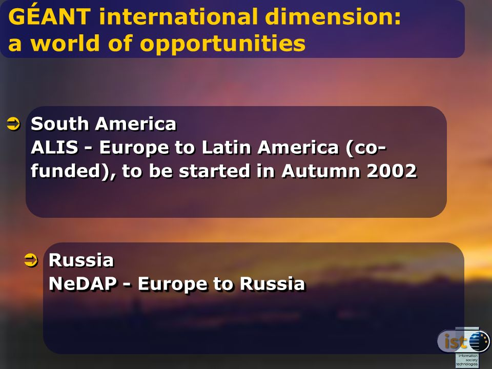 GÉANT international dimension: a world of opportunities South America ALIS - Europe to Latin America (co- funded), to be started in Autumn 2002 NeDAP - Europe to Russia Russia NeDAP - Europe to Russia