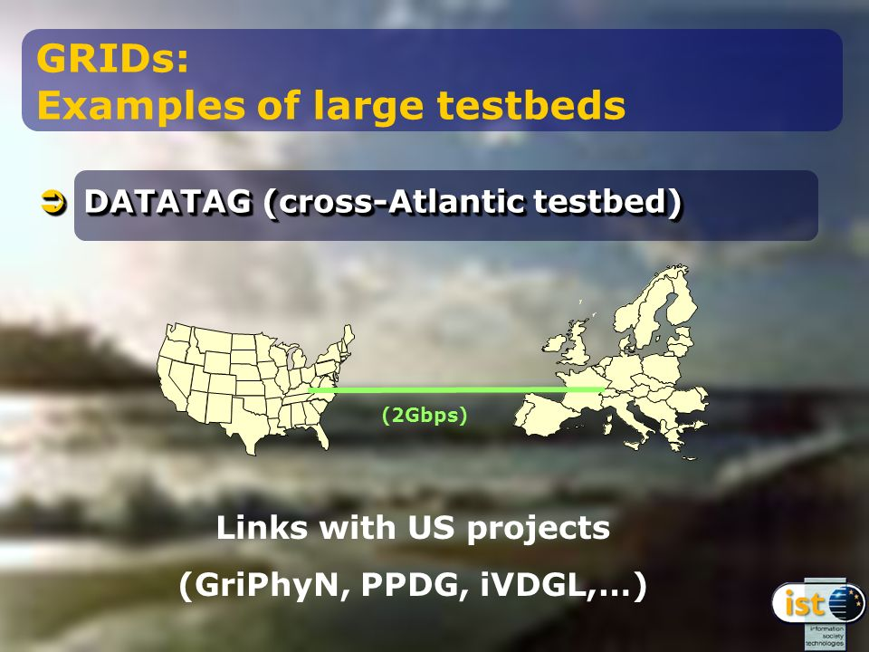 DATATAG (cross-Atlantic testbed) DATATAG (cross-Atlantic testbed) GRIDs: Examples of large testbeds (2Gbps) Links with US projects (GriPhyN, PPDG, iVDGL,…)