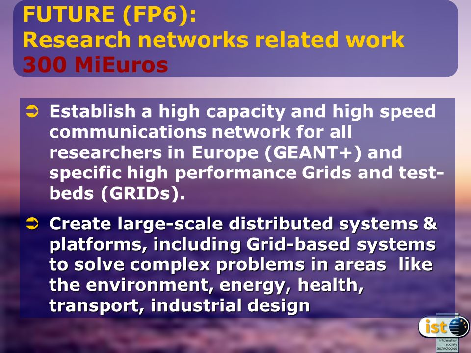 FUTURE (FP6): Research networks related work 300 MiEuros Establish a high capacity and high speed communications network for all researchers in Europe (GEANT+) and specific high performance Grids and test- beds (GRIDs).