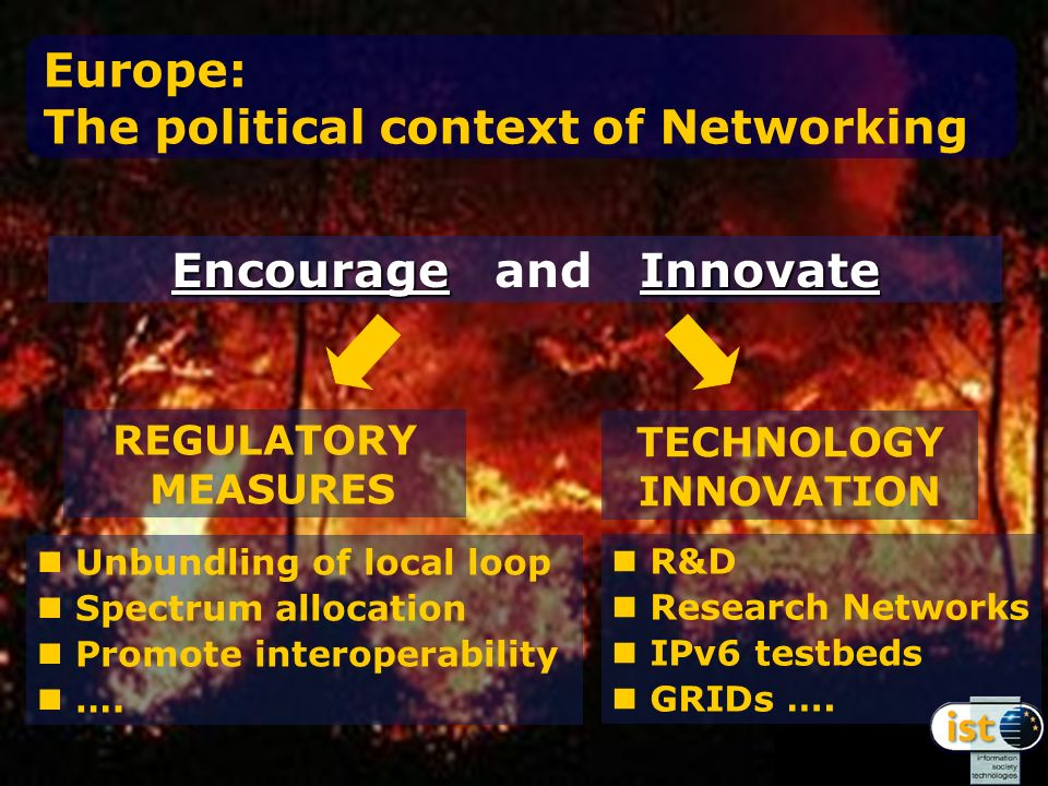 Europe: The political context of Networking EncourageInnovate Encourage and Innovate REGULATORY MEASURES Unbundling of local loop Spectrum allocation Promote interoperability ….