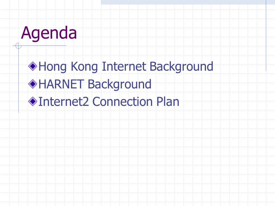 Hong Kong Internet Background Population 6.8 million At Dec/2001, Internet users 2.6M (39% of population) Dialup vs Broadband : (3.2 to 1) WAN technology – ATM OC3, FE, GE International fiber capacity 164G capacity : 16 times increase in 2001 40G activated (70% Japan, 10% China, 10% US)