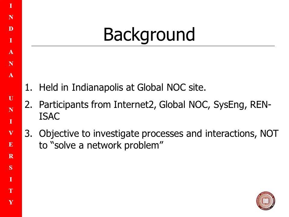 INDIANAUNIVERSITYINDIANAUNIVERSITY 1.Held in Indianapolis at Global NOC site.